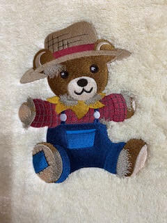 country bear blue overalls towel