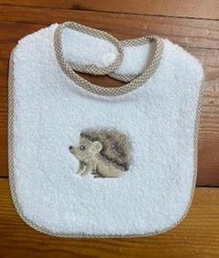 hedgehog on white baby bib
